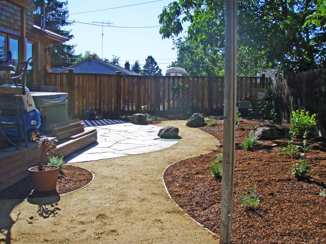 Confluence Ecological Landscaping, Installation Of Flagstone Patio On Back  Deck And Dg Pathway